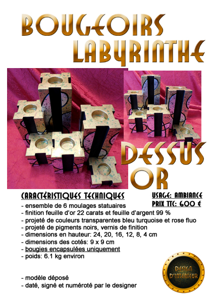 bougeoirs labyrinthe or